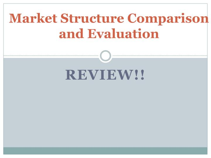 Market structure comparison and evaluation