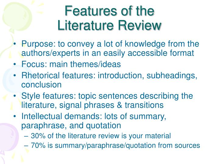 features of the literature review n.