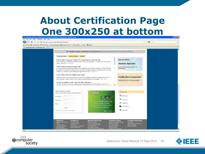 About Certification Page