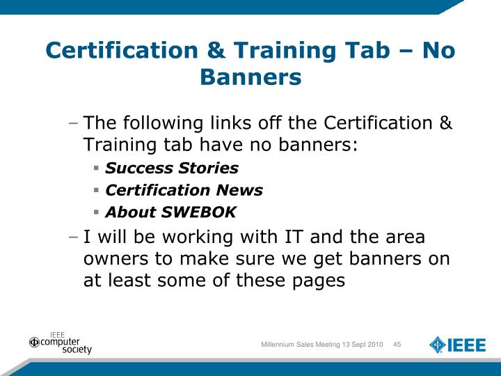 Certification & Training Tab – No Banners