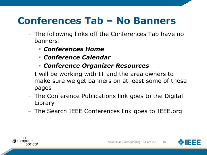 Conferences Tab – No Banners
