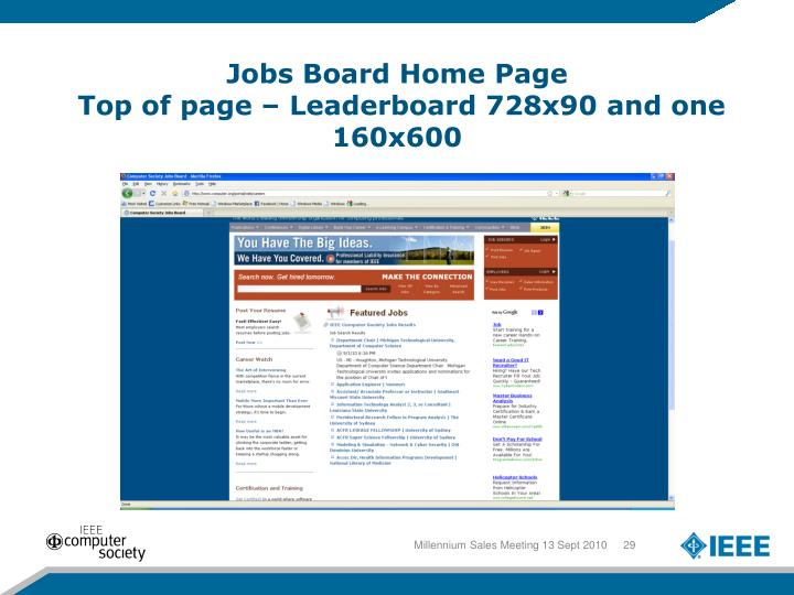 Jobs Board Home Page