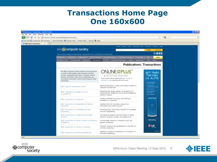 Transactions Home Page