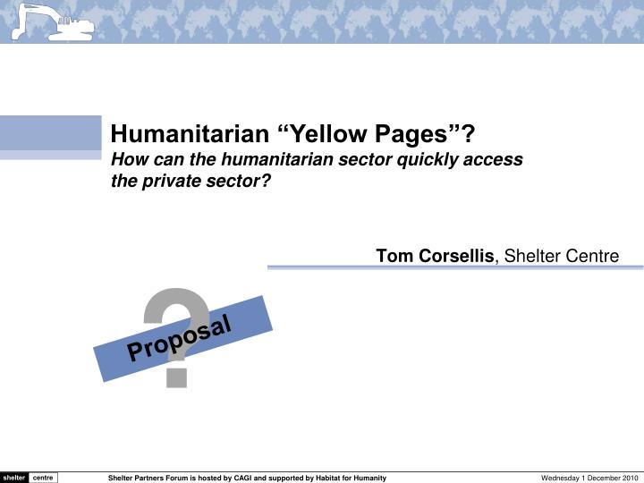 "Humanitarian ""Yellow Pages""?"