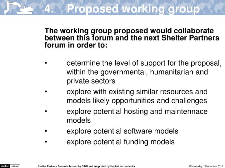 4.	Proposed working group remit