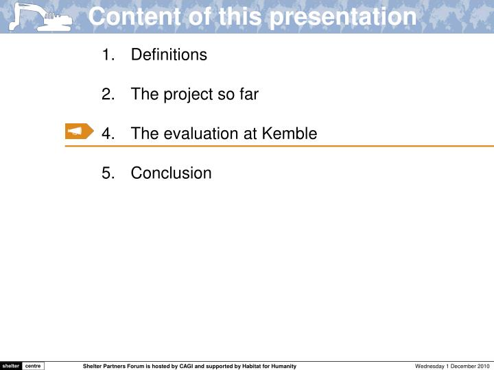 Content of this presentation