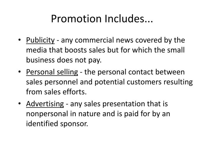 Promotion includes