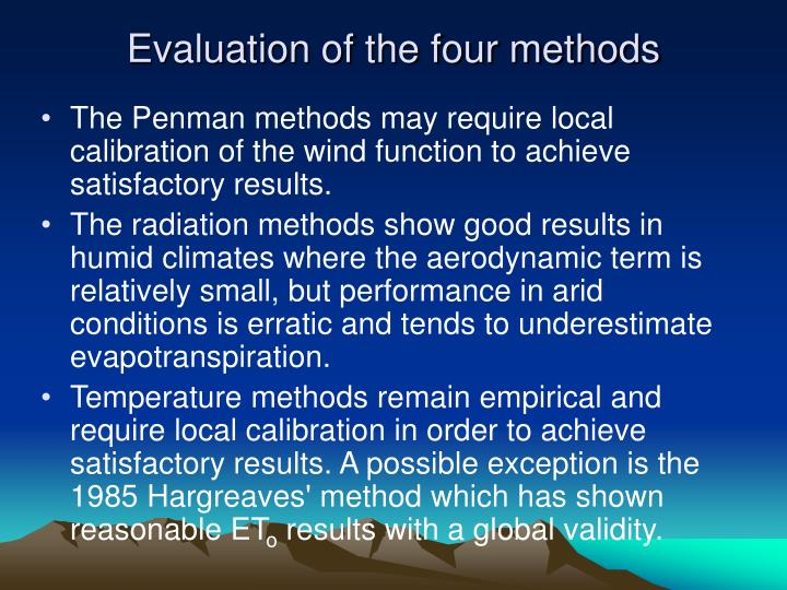Evaluation of the four methods