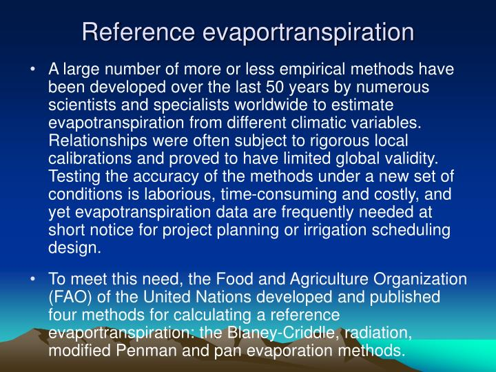 Reference evaportranspiration
