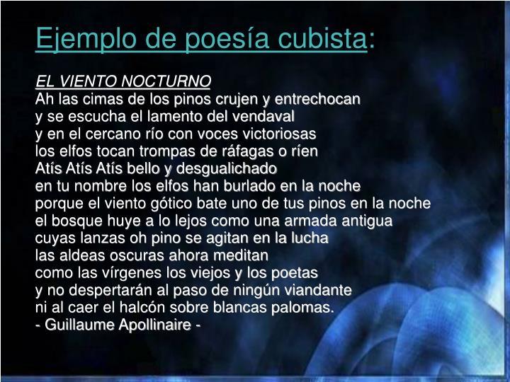 Ejemplo de poesía cubista