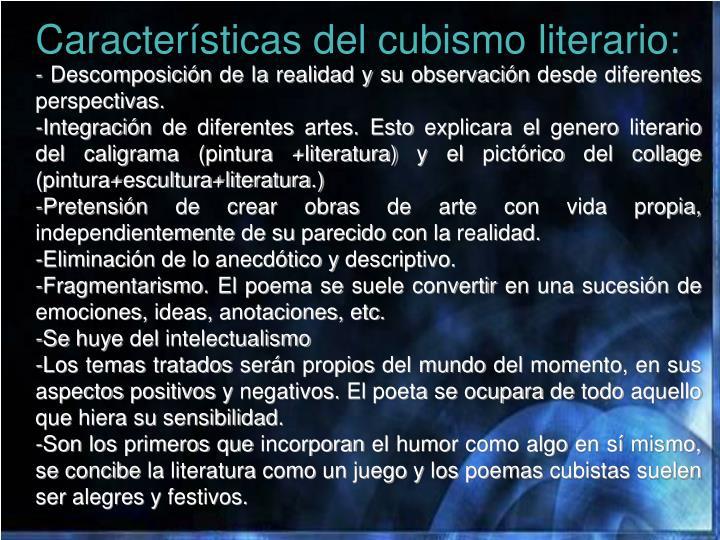 Características del cubismo literario: