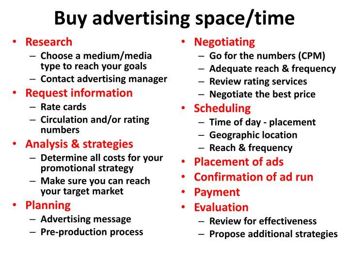 Buy advertising space/time