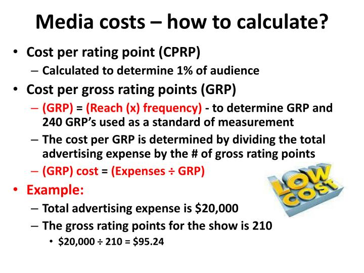 Media costs – how to calculate?