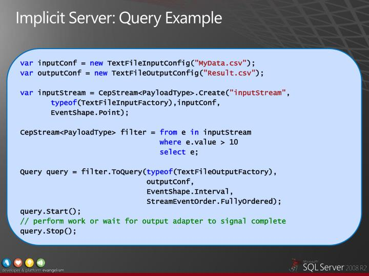 Implicit Server: Query Example