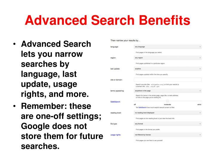 Advanced Search Benefits