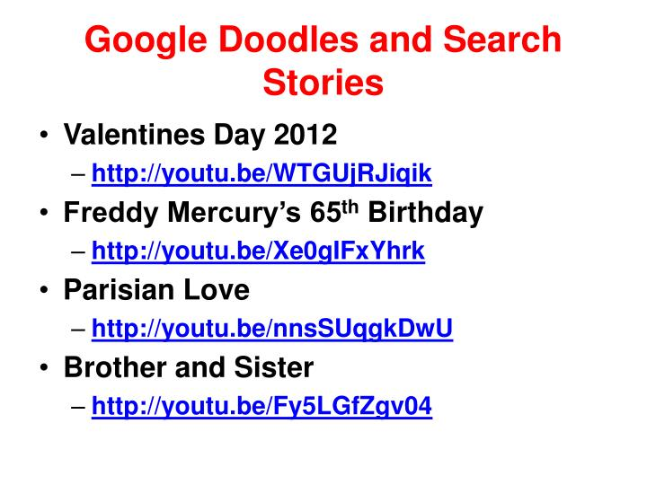 Google Doodles and Search Stories