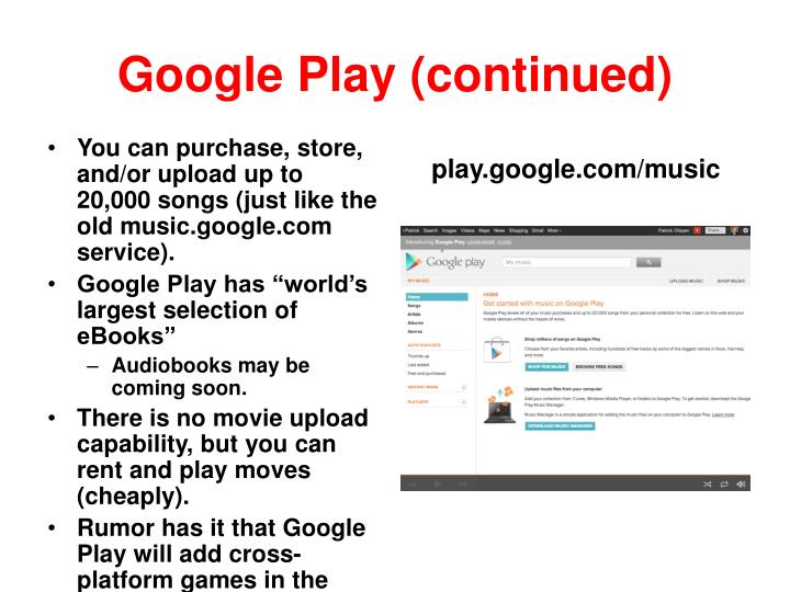 Google Play (continued)