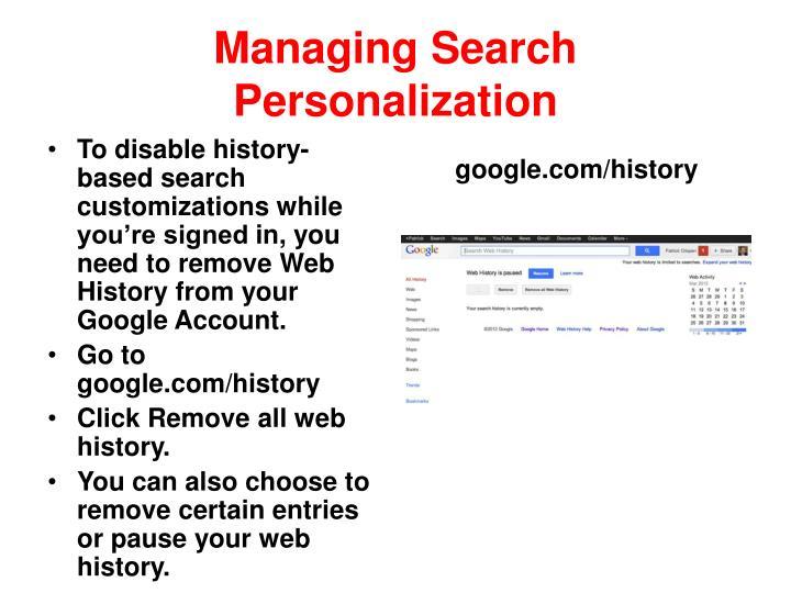 Managing Search Personalization
