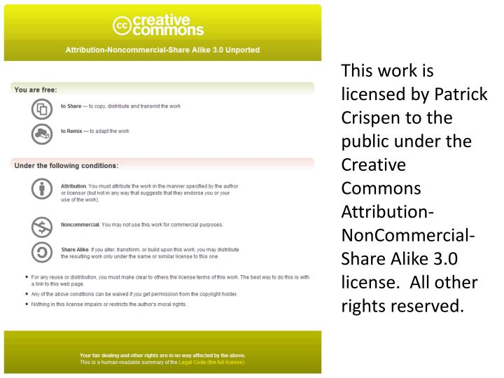 This work is licensed by Patrick Crispen to the public under the Creative Commons Attribution-NonCom...