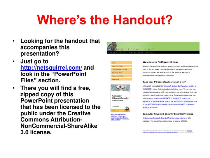 Where's the Handout?