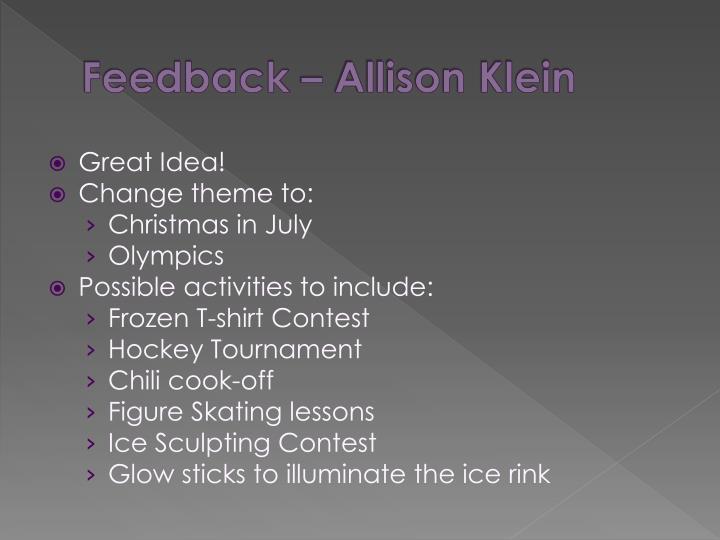 Feedback – Allison Klein