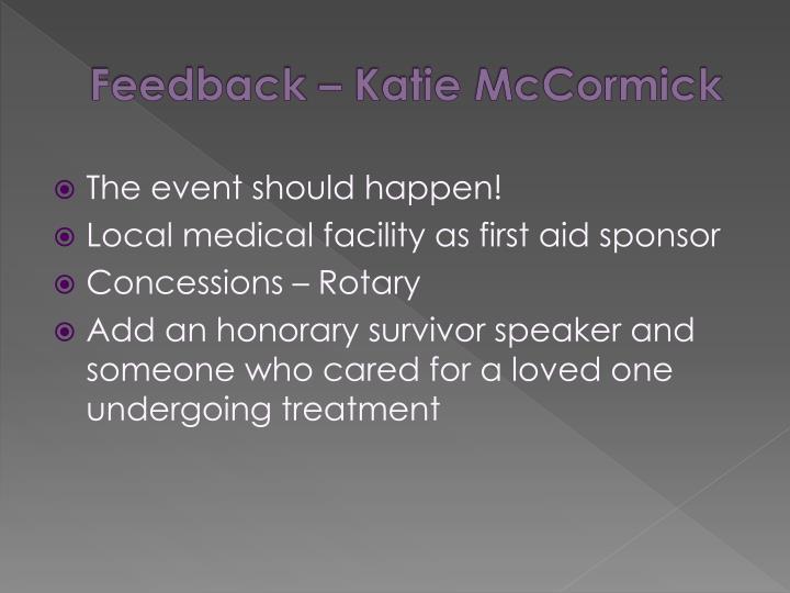 Feedback – Katie McCormick