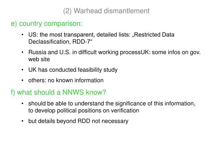 (2) Warhead dismantlement