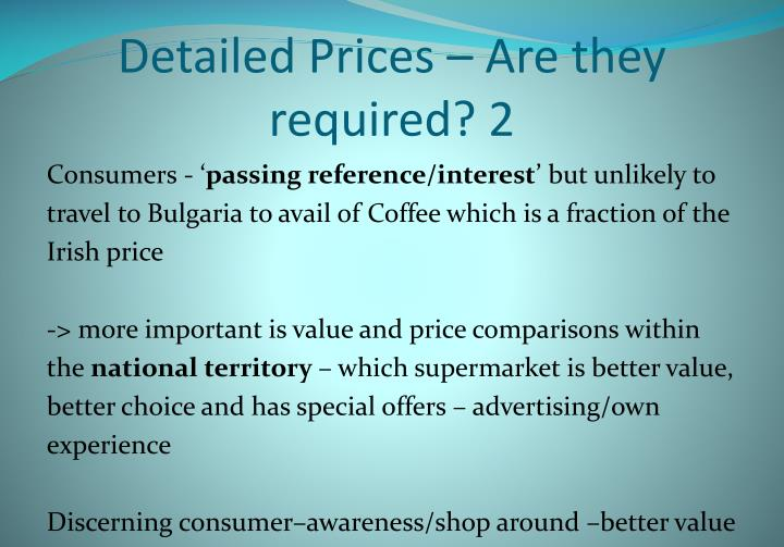 Detailed Prices – Are they required? 2