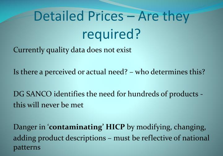 Detailed Prices – Are they required?