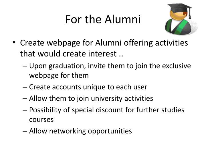 For the Alumni