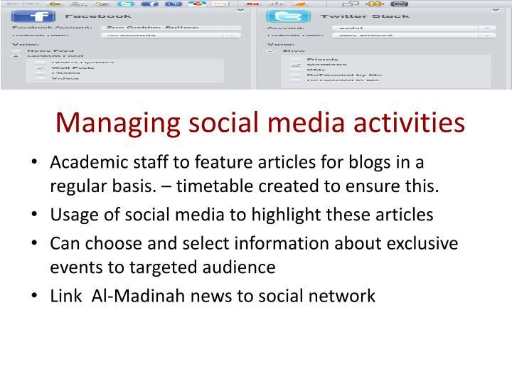 Managing social media activities