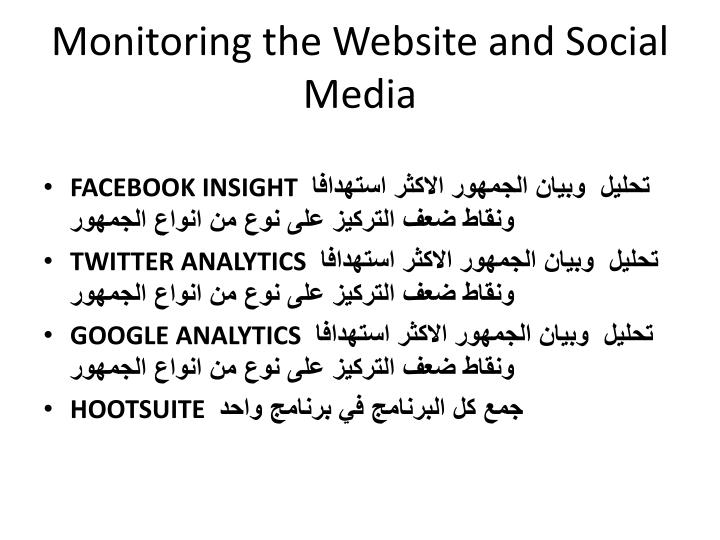 Monitoring the Website and Social Media