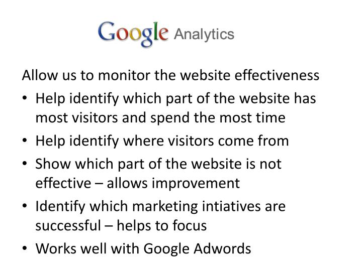 Allow us to monitor the website effectiveness