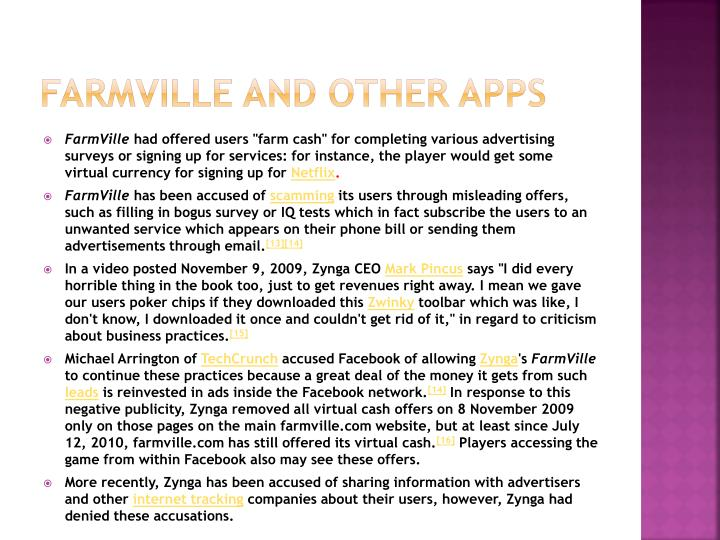 Farmville and other apps