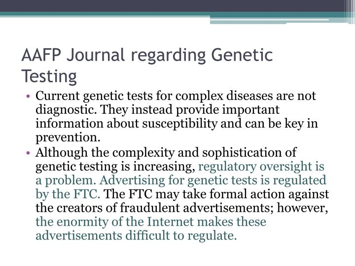 AAFP Journal regarding Genetic Testing