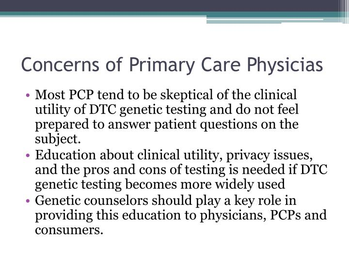 Concerns of Primary Care