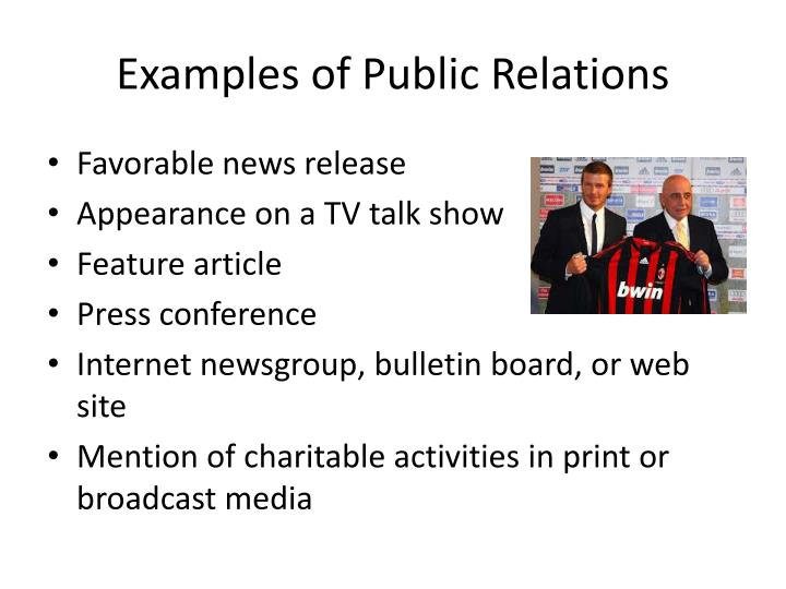 Examples of Public Relations