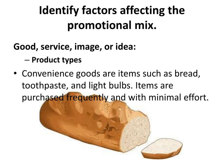 Identify factors affecting the promotional mix.