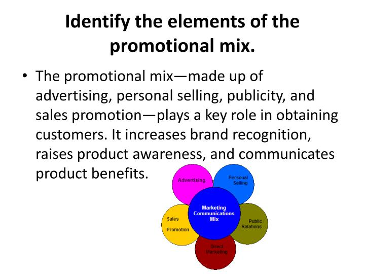 Identify the elements of the promotional mix