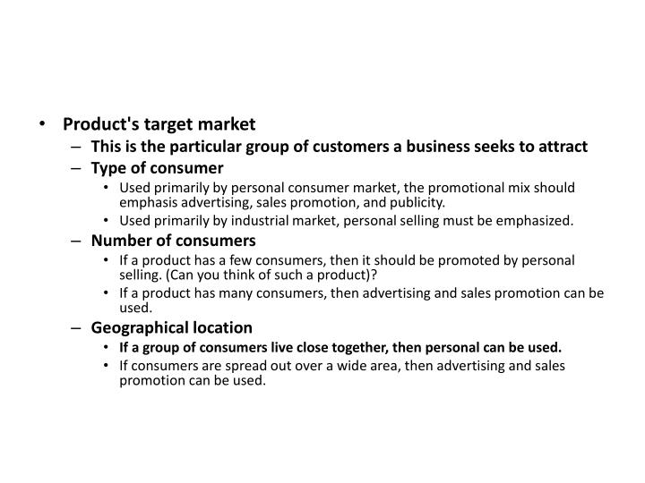 Product's target market