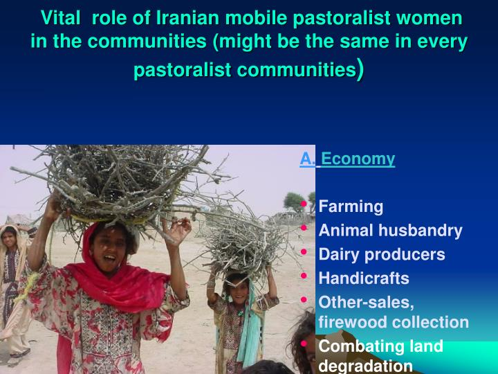 Vital  role of Iranian mobile pastoralist women in the communities (might be the same in every pastoralist communities