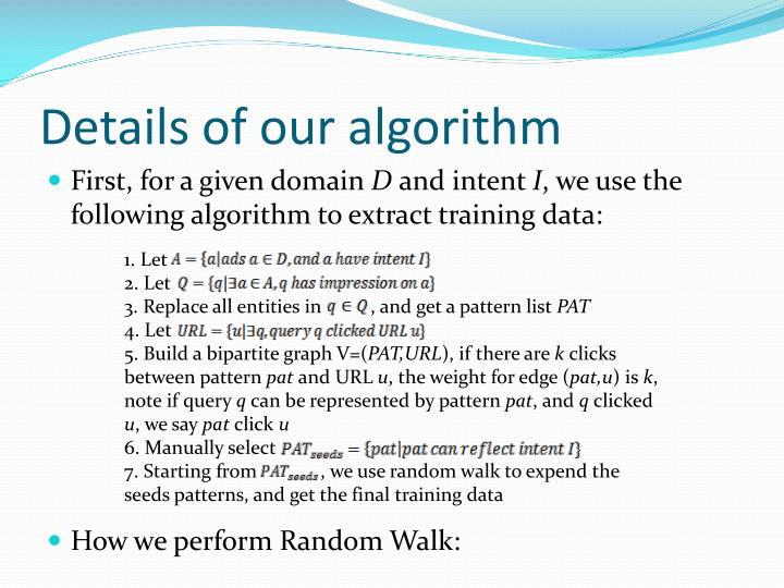 Details of our algorithm
