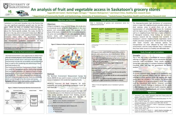 an analysis of fruit and vegetable access in saskatoon s grocery stores n.