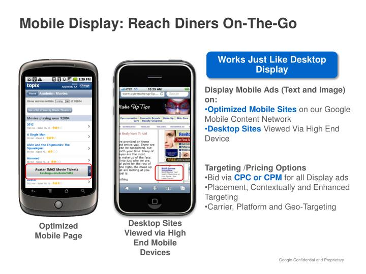 Mobile Display: Reach Diners On-The-Go