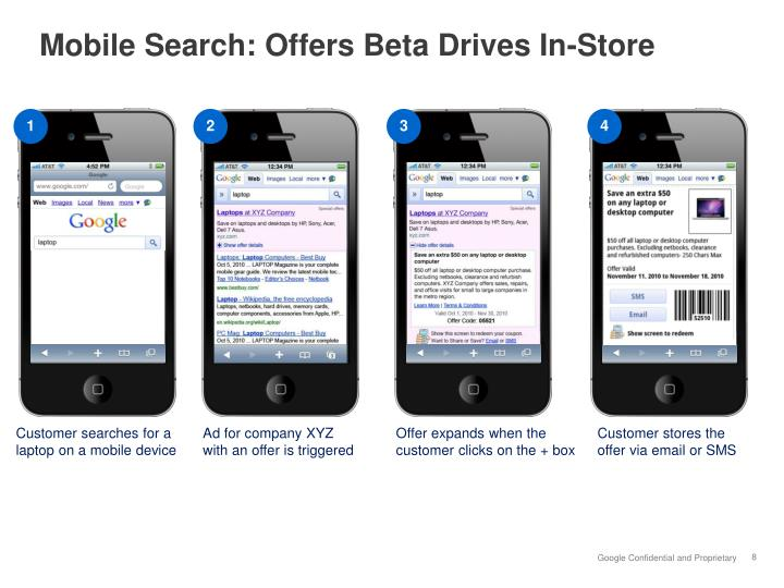Mobile Search: Offers Beta Drives In-Store