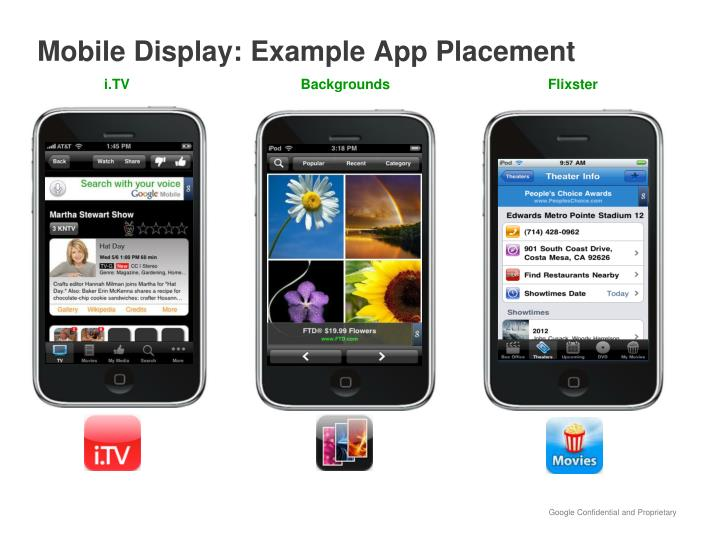 Mobile Display: Example App Placement