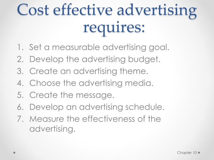 Cost effective advertising requires