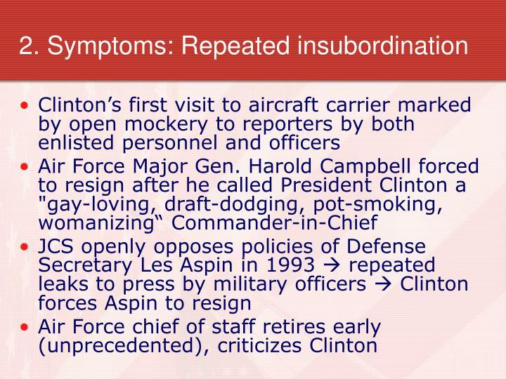 2. Symptoms: Repeated insubordination