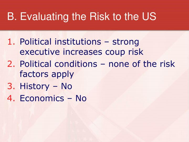 B. Evaluating the Risk to the US