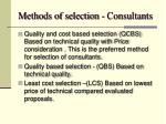 methods of selection consultants